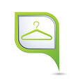 clothers hanger symbol on green map pointer vector image vector image