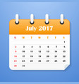 usa calendar for july 2017 week starts on sunday vector image