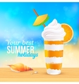 Summer creamy cocktail with orange slice vector image