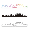 Atlanta skyline linear style with rainbow vector image