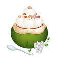 Coconut Ice Cream with Nuts on White Background vector image