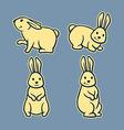 Rabbit Line Art Set2 vector image vector image
