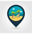 Hammock with palm trees on beach pin map icon vector image