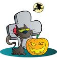Cat And Winking Halloween Jackolantern Pumpkin vector image