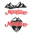mountains hand drawn lettering with mountain icons vector image