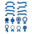 retro blue banner ribbons and badges for vector image