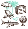 Travel Sketch Decorative Icon Set vector image