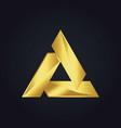 Triangle gold shape logo vector image