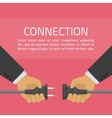 Hand connect plug vector image
