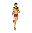 drawing woman training run with wearable vector image