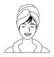 woman with towel on head spa treatment vector image