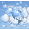 Sky and bubbles background vector image vector image