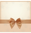 Vintage greeting card template with golden bow and vector image