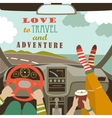 Man and woman traveling by car vector image