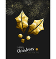 Merry christmas new year golden holly low poly vector image