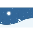 Christmas landscape people skiing on the hill vector image