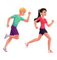 couple of runners sprinters running race vector image vector image