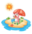 A pig at the beach vector image vector image