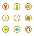 Beer snacks icons set cartoon style vector image