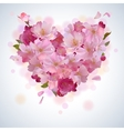 background with cherry petal heart vector image