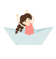 girl floating on a paper boat vector image