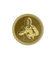 Kendo Swordsman Gold Medal Retro vector image