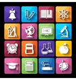 set of icons educationflat style vector image