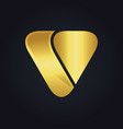 triangle shape letter v gold logo vector image