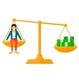 Woman sitting on scale with coins vector image