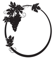 black silhouette - oval frame with grape vector image vector image