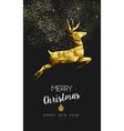 Merry christmas happy new year gold deer low poly vector image