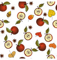 fresh red apples background hand drawn icons vector image
