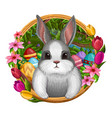 White bunny in frame with flowers vector image