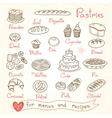 Set drawings of pastries and bread for design vector image