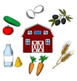Farming food and agriculture objects vector image