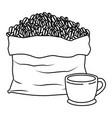 bag with beans and cup of coffee with handle vector image
