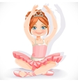 Ballerina girl in pink dress sit on floor isolated vector image