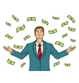 businessman and money rain pop art vector image