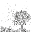 Card with doodle flowers for coloring vector image