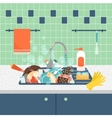 Kitchen sink with dirty kitchenware and dishes vector image