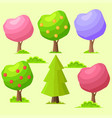 low poly colorful trees flat set vector image