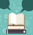 Open book background with speech bubbles vector image