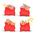 set christmas red bags of gifts and toys cute vector image