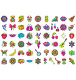 Set of fashionable cute patches elements vector image