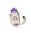 Funny cat in fashion hat for your design vector image vector image