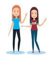 Best friends two girls happy standing vector image