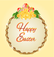 Round frame easter eggs and daffodils vector image