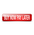 buy now pay later red square 3d realistic isolated vector image