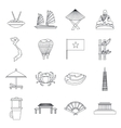 Vietnam travel icons set outline style vector image