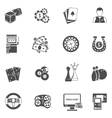 Casino gambling games black icons set vector image